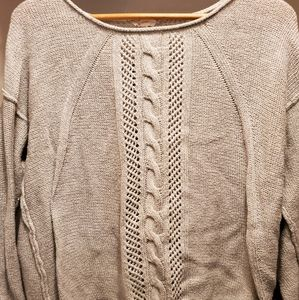 Mystree Adelene Scoop Neck Cable Knit Sweater